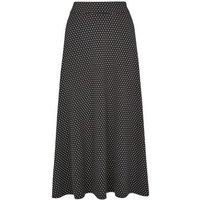 JDY Black Polka Dot Midi Skirt New Look