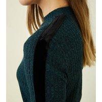 JDY Dark Green Ribbed Velvet Side Stripe Top New Look