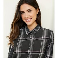 Light Grey Check Button Front Shirt New Look
