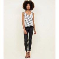 White Spot Print Sequin Sleeveless Top New Look