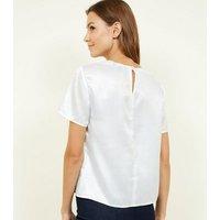 Off White Short Sleeve Metallic Jacquard Top New Look