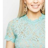 Mint Green Cornelli Lace Zip Back Top New Look