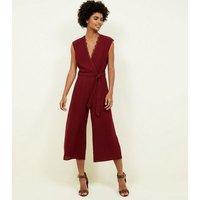 Burgundy Lace Trim Wrap Culotte Jumpsuit New Look