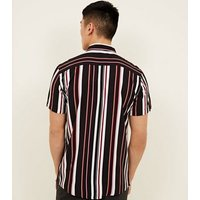 Black and Burgundy Stripe Short Sleeve Shirt New Look
