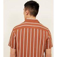 Rust Stripe Short Sleeve Revere Collar Shirt New Look