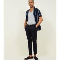 Navy Stripe Short Sleeve Revere Collar Shirt New Look