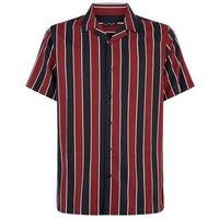 Red Stripe Short Sleeve Revere Collar Shirt New Look