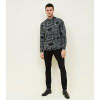 Black Geometric Paisley Print Collared Shirt New Look