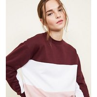 Petite Burgundy Colour Block Sweatshirt New Look