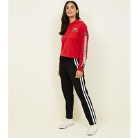 Red NYC Star Stripe Sleeve Hoodie New Look
