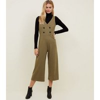 Khaki Double Breasted Cross Hatch Cropped Jumpsuit New Look