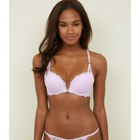 Lilac Lace Racerback Push-Up Bra New Look