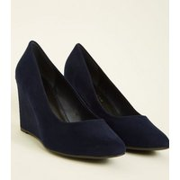 Wide Fit Navy Suedette Faux Snake Wedge Heels New Look