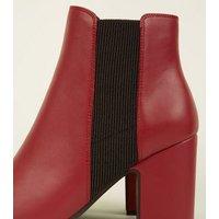 Red LeatherLook Block Heel Chelsea Boots New Look