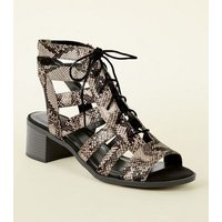 Stone Faux Snake Lace Up Ghillie Heel Sandals New Look