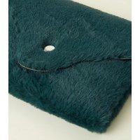 Dark Green Faux Fur Purse Belt New Look