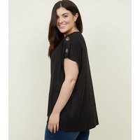 Curves Black Button Shoulder Tunic Top New Look