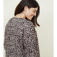 Curves Pink Leopard Print Zip Front Tunic Top New Look