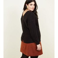 Curves-Rust-Brushed-Belted-Skirt-New-Look