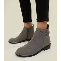 Girls Grey Suedette Ring Strap Ankle Boots New Look