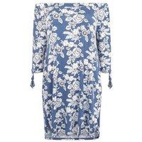 Blue Vanilla Curves Navy Floral Bardot Tunic Dress New Look