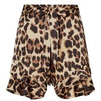 Cameo Rose Brown Leopard Print Frill Hem Shorts New Look