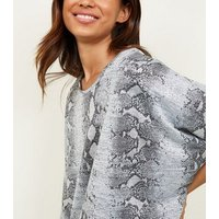 Silver Shimmer Snake Print Fine Knit Top New Look
