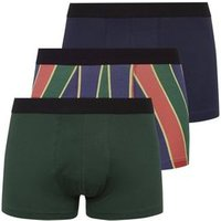 3 Pack Green Stripe Cotton Stretch Trunks New Look