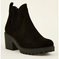 Girls Black Suedette Chunky Chelsea Boots New Look