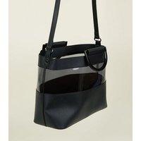 Black Clear Panel Plastic Handle Tote Bag New Look