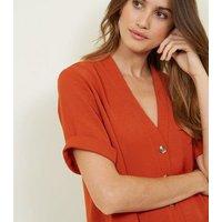 Orange Herringbone Button Front Boxy Shirt New Look