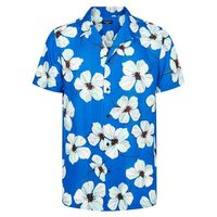 Bright Blue Floral Short Sleeve Shirt New Look