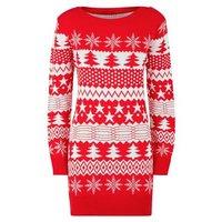 Mela Red Fairisle Knit Longline Christmas Jumper New Look