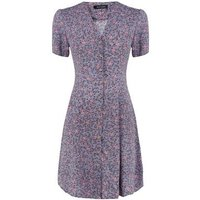 Purple Ditsy Floral Button Through Tea Dress New Look