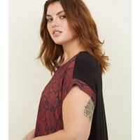 Curves Red Woven Snake Front Longline Top New Look