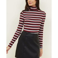 Red Stripe Glitter Roll Neck Jumper New Look