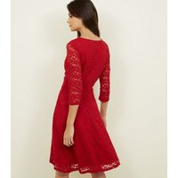 Mela Red Lace 3/4 Sleeve Wrap Dress New Look