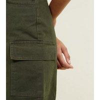 Tall Khaki Cargo Denim Mini Skirt New Look