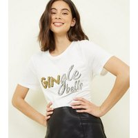 Tall Off White Gingle Bells Christmas Slogan T-Shirt New Look