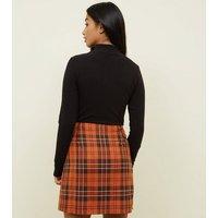 Petite Orange Asymmetric Check Button Skirt New Look