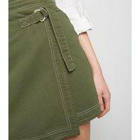 Khaki Wrap Denim Skirt New Look