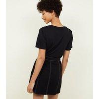 Black Contrast Stitch Button Front Denim Skirt New Look