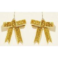 Gold Glitter Bow Earrings New Look