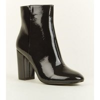 Black Patent Crinkle Ankle Boots New Look