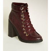 Burgundy Faux Croc Lace Up Boots New Look