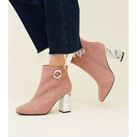 Wide Fit Pink Suedette Marble Print Heel Boots New Look