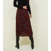 Burgundy Leopard Print Mid Wrap Skirt New Look