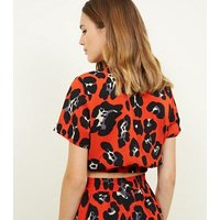 Cameo Rose Red Leopard Print Wrap Top New Look