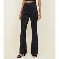 Cameo Rose Black Glitter Stripe Flared Trousers New Look