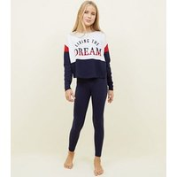 Girls Navy Living the Dream Pyjama Set New Look